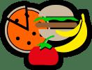 cartoon food- pizza, burger, banana and tomato