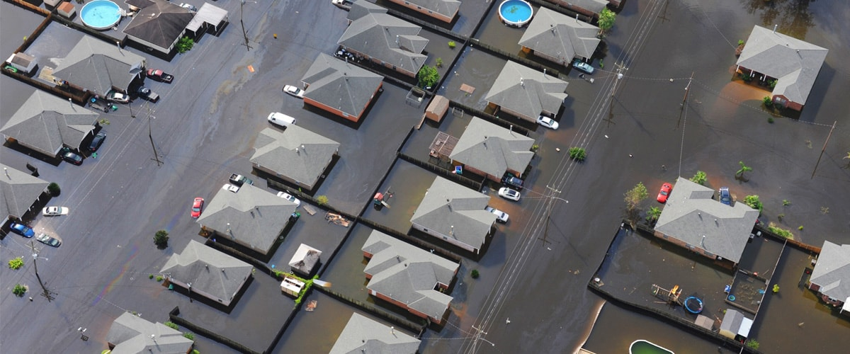 Aerial picture of a suburb which is completely flooded